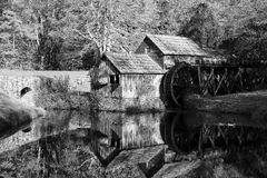 Black and White Mabry Mill. Black and white, Historic Mabry Mill on the Blue Ridge Parkway in Meadows of Dan, Virginia in the fall stock photography