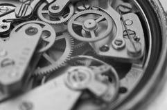 Black and white macro photo close-up view of metal clockwork Royalty Free Stock Image