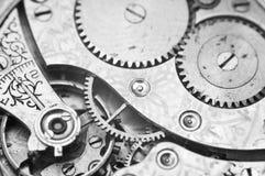 Black and white macro photo close-up view of metal clockwork Royalty Free Stock Photos