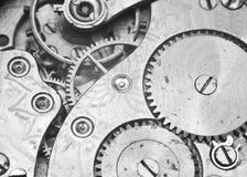 Black and white macro photo close-up view of metal clockwork Stock Image