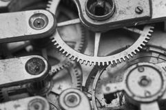 Black and white macro photo close-up view of metal clockwork Stock Images
