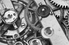 Black and white macro photo close-up view of metal clockwork Royalty Free Stock Images