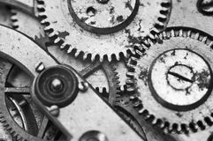 Black and white macro photo close-up view of metal clockwork Stock Photos