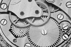 Black and white macro photo metal clockwork Stock Photo