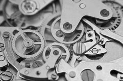 Black and white macro photo metal clockwork Royalty Free Stock Photography