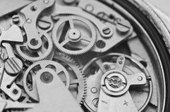 Black and white macro photo metal clockwork Royalty Free Stock Photo