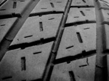 Black and white macro tire tread royalty free stock image
