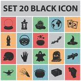 Black and white magic black icons in set collection for design. Attributes and sorceress accessories vector symbol stock Stock Photos