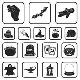 Black and white magic black icons in set collection for design. Attributes and sorceress accessories vector symbol stock. Illustration Stock Images