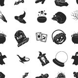 Black and white magic pattern icons in black style. Big collection of and white magic vector symbol stock illustration Royalty Free Stock Image