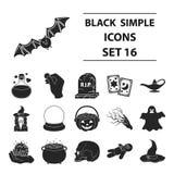 Black and white magic set icons in black style. Big collection of black and white magic vector symbol stock illustration Stock Photos