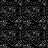 Black and white magnolia seamless pattern. Seamless vector pattern with magnolia on blaсk background Royalty Free Stock Images