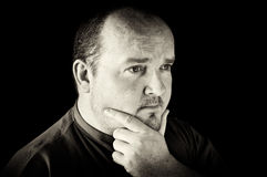 Black and white of a male in his 30's overweight Royalty Free Stock Photos