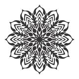 Black and white Mandala floral leaf Illustration royalty free stock photo