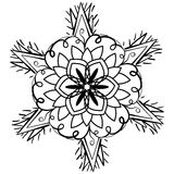 Black and white mandala in the form of an abstract flower. Ornate doodle round rosette in black over white backgrounds. Black and white mandala in the form of an Royalty Free Stock Image