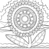 Black and white mandala ornament. Hand drawn pattern Stock Photos