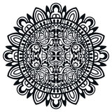 Black and white Mandala, tribal ethnic ornament. Vector islamic arabic indian pattern Stock Photography