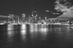 Black and white Manhattan panorama at night, USA. Black and white Manhattan panorama at night, New York City, USA Royalty Free Stock Image