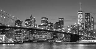 Black and white Manhattan waterfront at night, NYC. Stock Photography