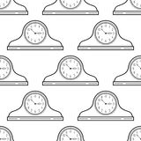 Black and white mantel clock. Seamless pattern. Decorative background. Stock Images