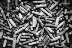 Black and white many dirty cigarettes butts background Royalty Free Stock Image