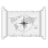 Black and white map with compass rose vector Royalty Free Stock Photography