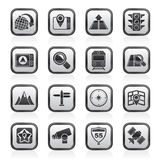 Black and white map, navigation and Location Icons stock illustration