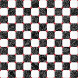 Black and white marble square floor tiles with red rhombs seamless pattern texture background Stock Photography