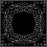 Black and white marine bandana square pattern design. Royalty Free Stock Images