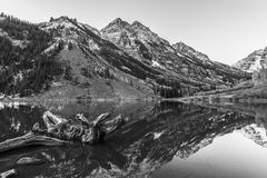 Black and White Maroon Bells Sunrise Aspen Colorado Stock Image