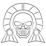 Black and white Mask Aztec ancestors of Mexico on a white background Royalty Free Stock Images