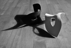Black and white masks. With shadows Stock Image