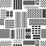 Black and white mayan embroidery seamless vector pattern. Monochrome geometric abstract repeat background with lines and shapes Royalty Free Stock Image