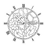 Black and White Mechanical Clock Royalty Free Stock Image