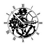 Black and White Mechanical Clock Royalty Free Stock Photos