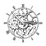 Black and White Mechanical Clock. Black and White Steampunk Mechanical Clock Stock Photography