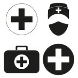 Black and white medical first aid silhouette set. Healthcare themed  illustration for icon, sticker, sign, patch, certificate badge, gift card, stamp logo Stock Image