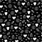 Black and white medicinal seamless pattern design Royalty Free Stock Photo