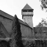 Black and White.Medieval fortified saxon church in Calnic, Transylvania Stock Image