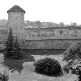 Black and White. Medieval fortified saxon church in Calnic, Transylvania Stock Image