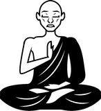 Black and White Meditating Monk Vector Royalty Free Stock Image