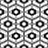 Black and white mediterranean seamless tile pattern. Geometric monochrome shapes vector texture for ceramic design, textile and wallpaper Stock Image