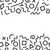 Black and white memphis abstract geometric shapes frame seamless pattern, vector. Background Stock Photos
