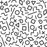 Black and white memphis abstract geometric shapes seamless pattern, vector. Background Royalty Free Stock Photo