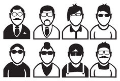 Black and White Men Fashion Vector Icons Royalty Free Stock Photography