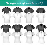 Black and white men polo shirts and t-shirts. vector illustration