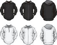 Black white men's hoodie sweatshirt template Royalty Free Stock Image