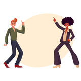 Black and white men in 1970s style clothes dancing disco Stock Images