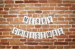 Black and white MERRY CHRISTMAS paper card flag garland. Royalty Free Stock Photos