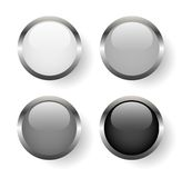 Black and white metal buttons Royalty Free Stock Photo